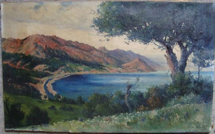 Theodor Charles Balke ((1875 -1951),Lac Presba (lake Prespa) 1914 oil-canvas
