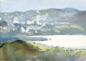 Thomas-Cantrell-Dugdale-1880-1952Bombardment-of-Bulgar-Trenches-Dojran-1917-gouache