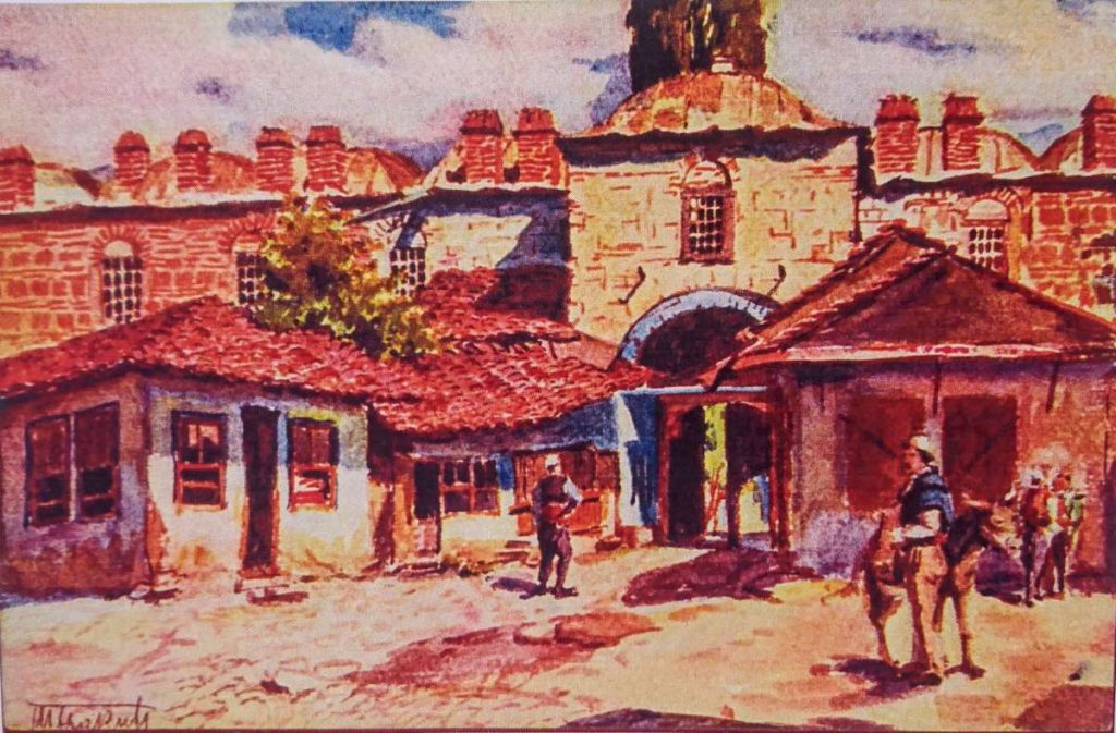 Todor-Švrakić-1882-1931-Kurshumli-Han-Skopje-watercolor-on-postcard