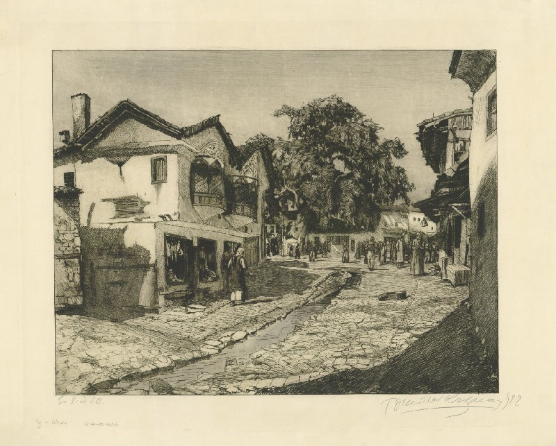 Tomislav-Krizman-1882-–-1955-Square-in-Ohrid-1922-etching