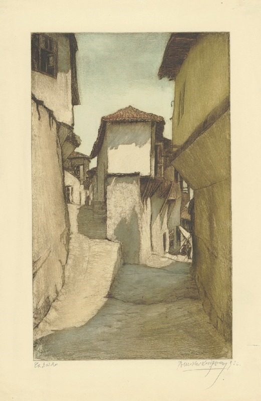 Улица во Велес 1919, бакрорез во боја