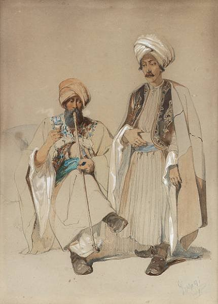 Vittorio Amadeo Prziosi 1816-1882 Two Albanians Smoking Albanian warioir-1850