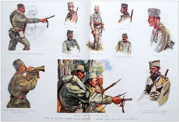 Vladimir Becich (1886 -1954),Types of Serbian Soldiers drawing for ,l'Illustration