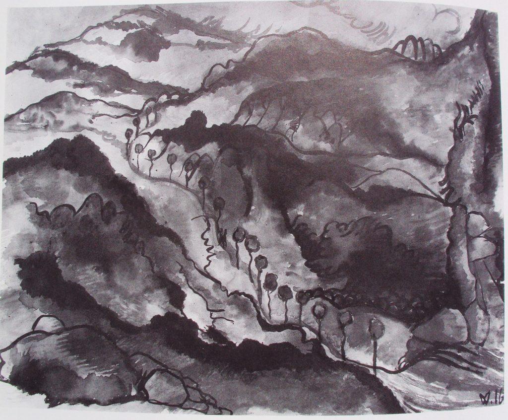 Македонски пејсаж, крива улица 1916, акварел