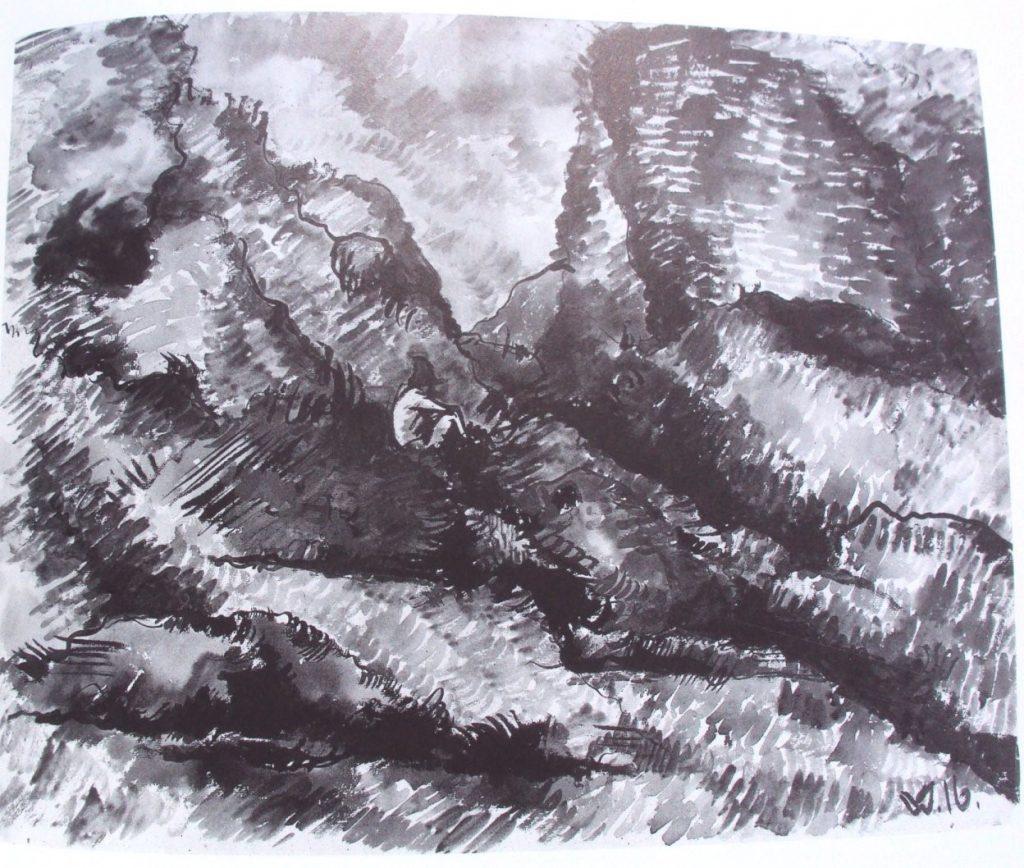 Македонски пејсаж, Пештера со дрво на мудроста, 1916, акварел