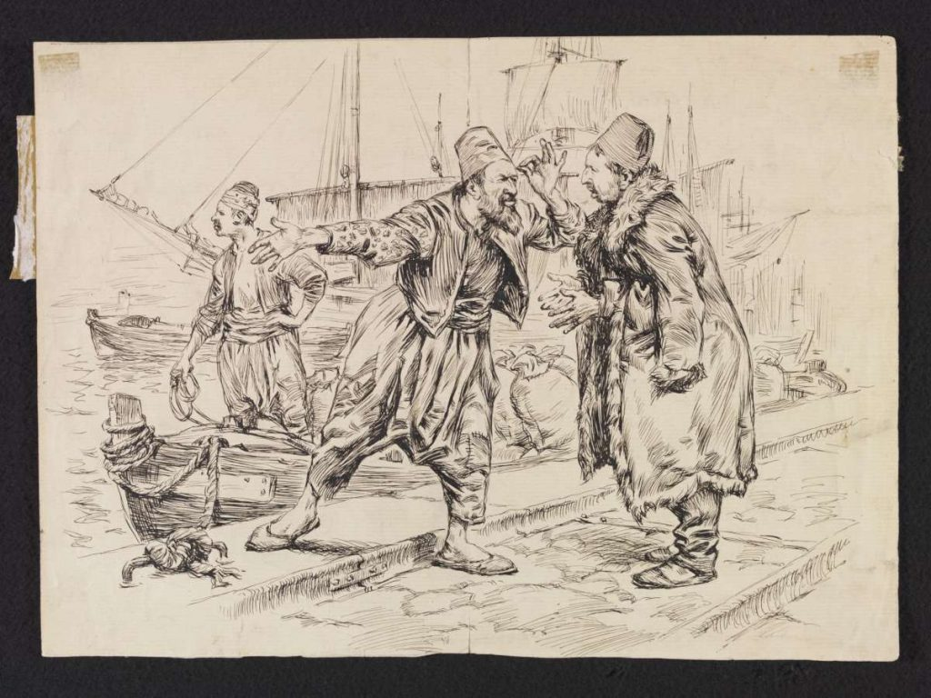 William T. Maud arrival in Thessaloniki harbor with Jewish fishermen 1902. Drawing in the collection of Victoria Albert Museum London.
