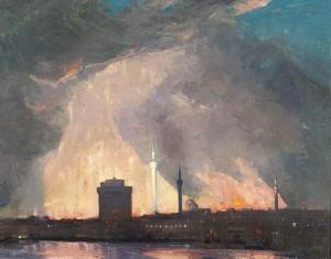 Willian-Thomas-Wood-1877-1958-The-great-fire-in-Thessaloniki-left-The-last-stage-right-White-Tower-in-front-of-the-fire-blaze.-Oil-on-Canvas-1917
