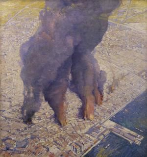 Willian-Thomas-Wood-1877-1958-The-great-fire-in-Thessaloniki-left-The-last-stage-rightWhite-Tower-in-front-of-the-fire-blaze.-Oil-on-Canvas-1917