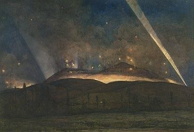 Willian-Thomas-Wood-1877-1958The-battle-of-the-Pips-Night-view-of-the-Dojran-Front-24-April-1917-OilCanvas