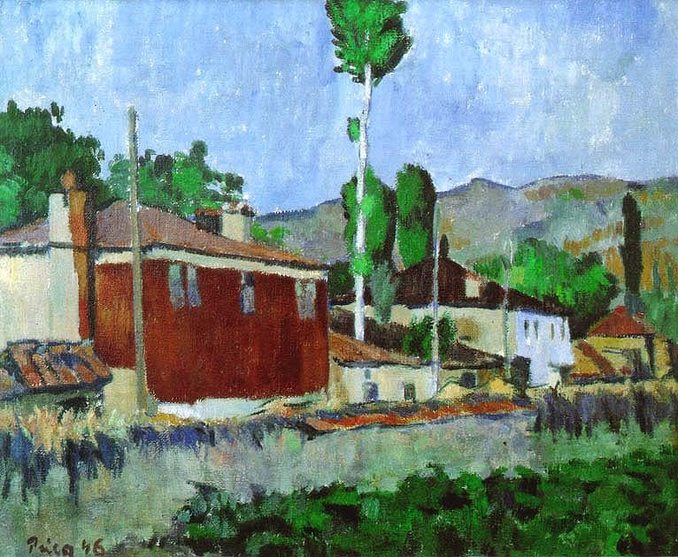 Zlatko-Prica-1916-2003-Houses-in-Ohrid-1946-oil-on-canvas